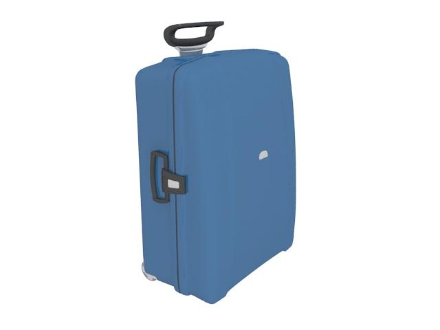 Blue luggage bag 3d rendering