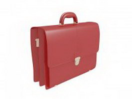 Red leather briefcase 3d preview