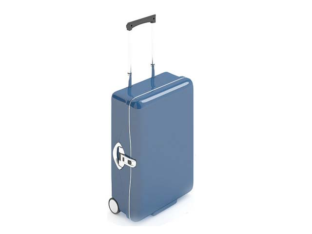 Blue luggage suitcase 3d rendering