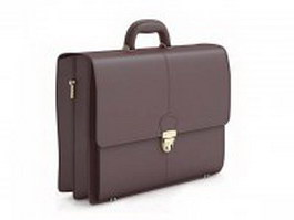 Brown leather briefcase 3d preview