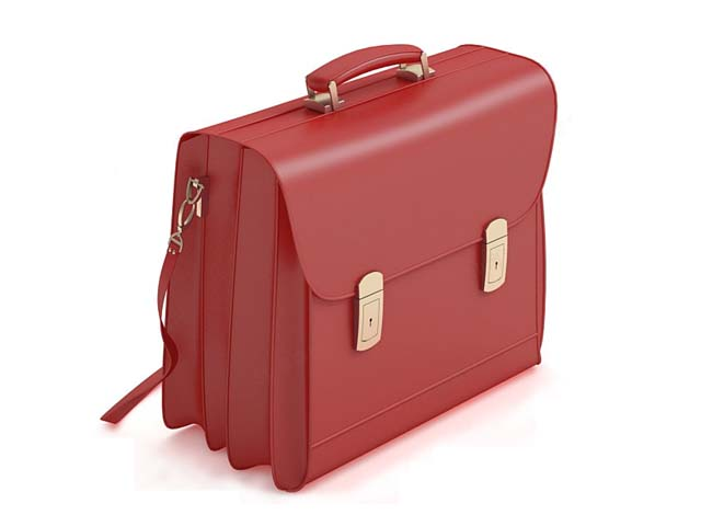 Lady briefcase with shoulder strap 3d rendering