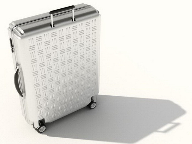 Silver luggage suitcase 3d rendering