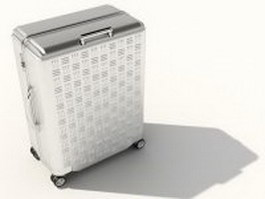 Silver trolley luggage bag 3d preview