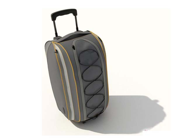Travel bag with trolley 3d rendering
