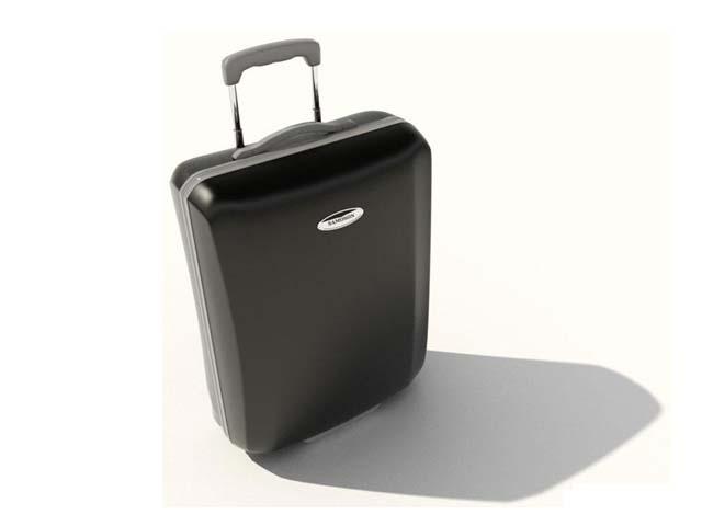 Black rolling luggage 3d rendering