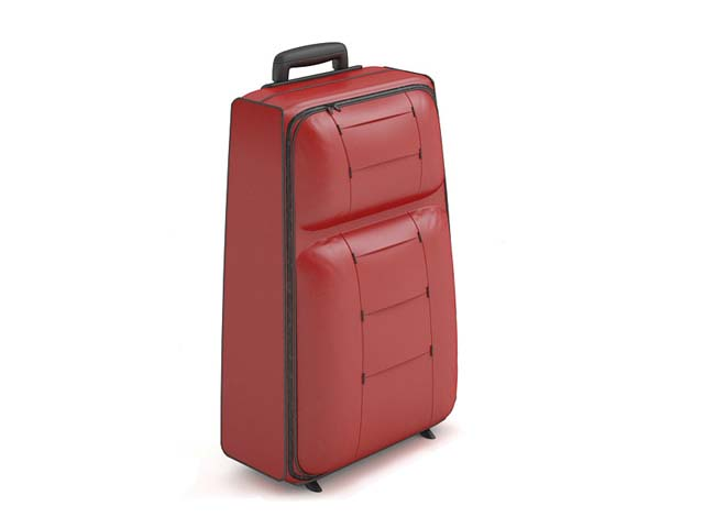 Red trolley luggage for lady 3d rendering