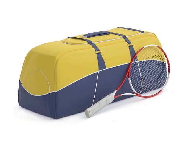 Sports bag with tennis racket 3d rendering