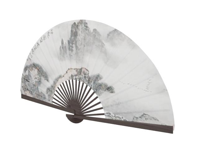 Chinese folding fan 3d rendering
