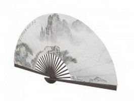 Chinese folding fan 3d preview