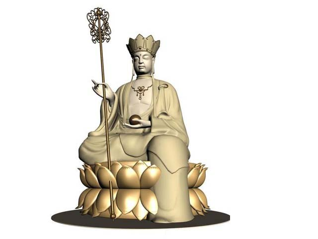 Ancient Chinese Buddha statue 3d rendering