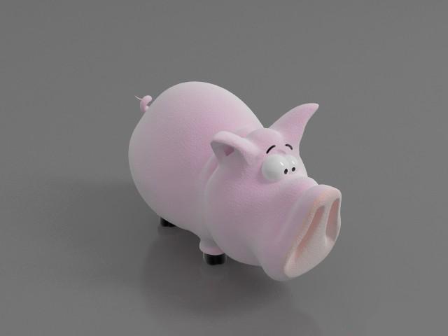 Cartoon pig 3d rendering
