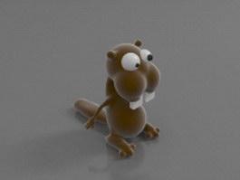 Cartoon squirrel character 3d model preview