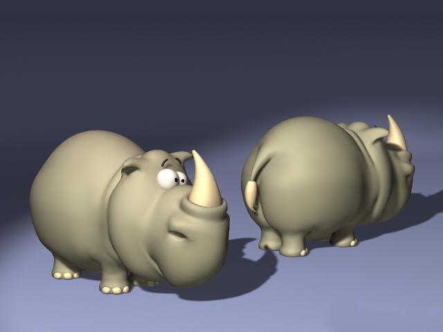Cartoon Rhino 3d rendering