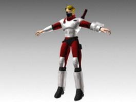Futuristic soldier 3d model preview
