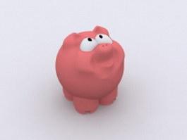 Pink cartoon pig 3d model preview