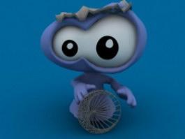 Big-eyed monster 3d model preview