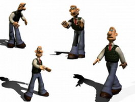 Rigged cartoon man character 3d preview
