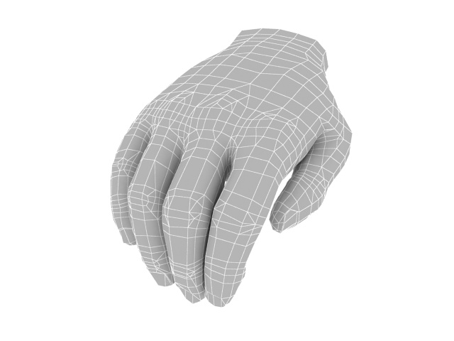 Cupped hand 3d rendering