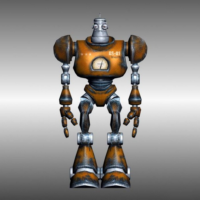 Rigged ancient robot 3d rendering