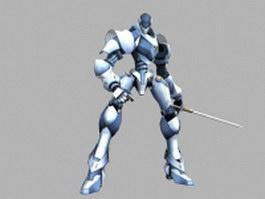 Futuristic robot swordsman 3d preview