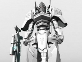 Humanoid mecha for video game 3d preview