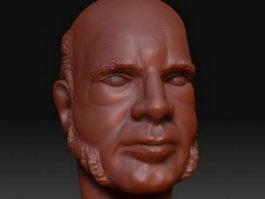 Full beard head 3d model preview