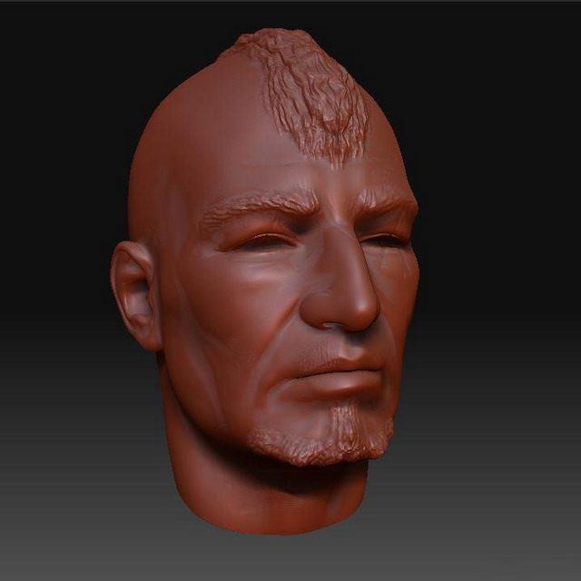 Punky man head 3d rendering