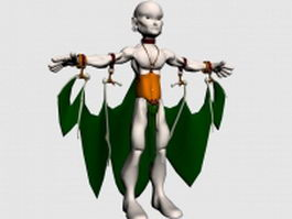Aboriginal man with fake wings 3d model preview