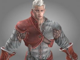 Animated human male warrior 3d model preview