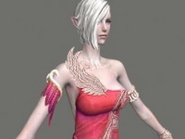 High elf female character 3d model preview