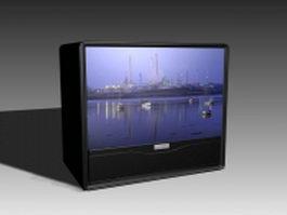 Flat CRT TV 3d model preview