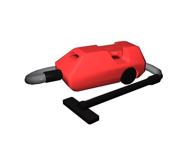Red vacuum cleaner 3d rendering