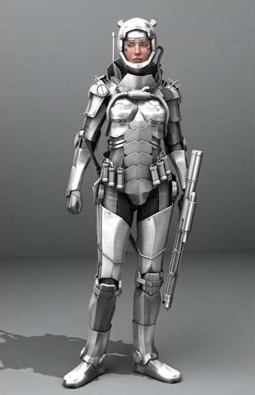 Rigged Sci Fi Girl In Armor 3d Model 3d Studio 3ds Max