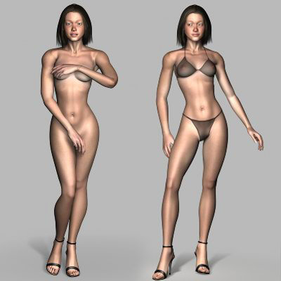 Woman in lingerie rigged 3d rendering