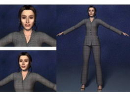 Business woman in suit 3d model preview