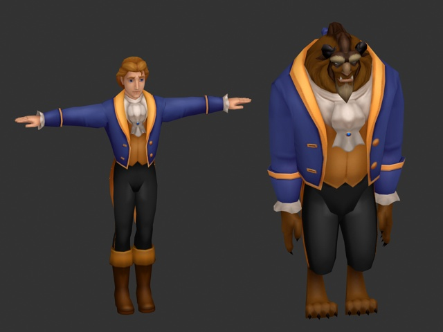 Beauty and the Beast 3d rendering