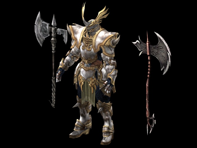 Armored warrior with battle axe 3d rendering