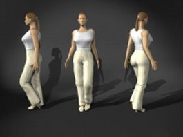 Young woman walking pose 3d model preview