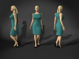 Business woman in walking pose 3d model preview