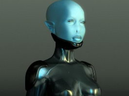 Alien girl rigged 3d preview