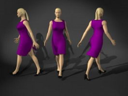 Business woman walking pose 3d preview