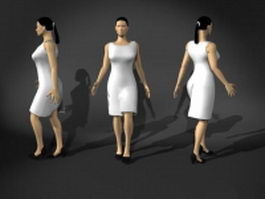 Business woman in walking pose 3d preview