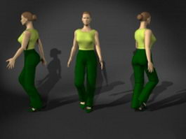 Woman in walking pose 3d model preview