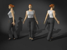 Woman in walking pose 3d preview