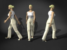 Woman walking pose 3d preview