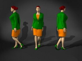 Woman in suit dress 3d model preview