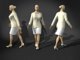 Woman in office uniforms 3d model preview