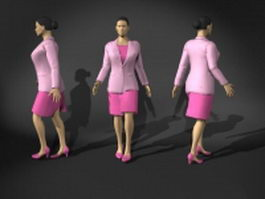 Office woman in pink suit dress 3d model preview