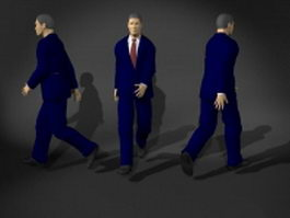Business man in walking pose 3d model preview