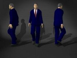 Man in blue suit 3d model preview